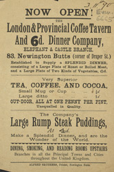 Advert for the London & Provincial Coffee Tavern
